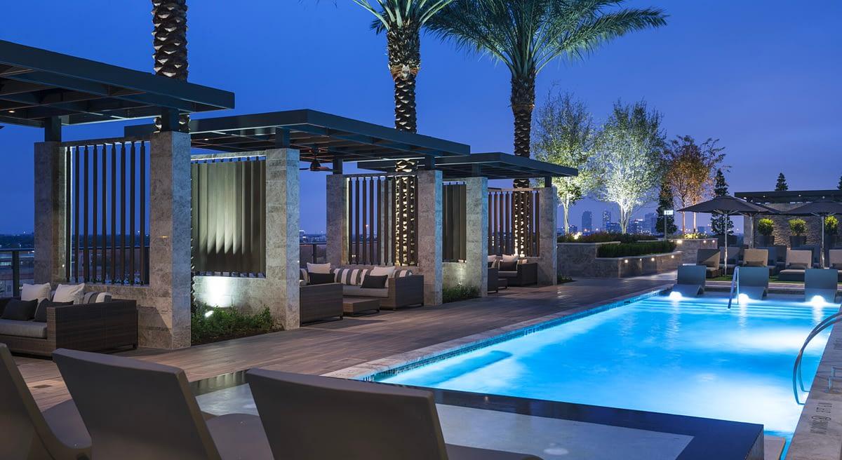 Hotel pool area hardscaping